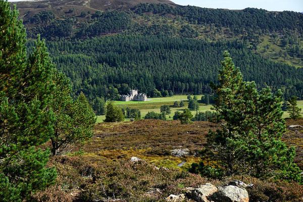 Blick vom Creag Choinnich auf ein kleines privates Schloss