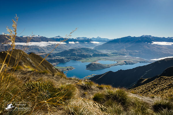 stunning view from roys peak to a great mountain scenery and the lake