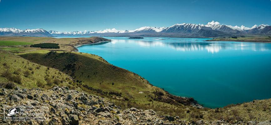 Unglaubliche Farbe des Gletschersees Tekapo vor Bergkulisse