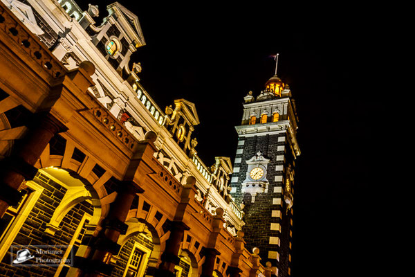 The old Dunedin railway station by night