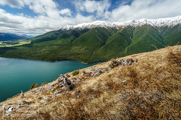 stunning mountain scenery on top of mount robert over lake rototiti