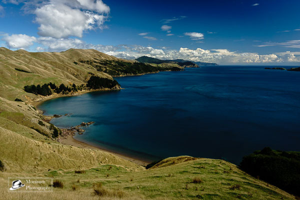 high above the sounds in marlborough with amazing blue water