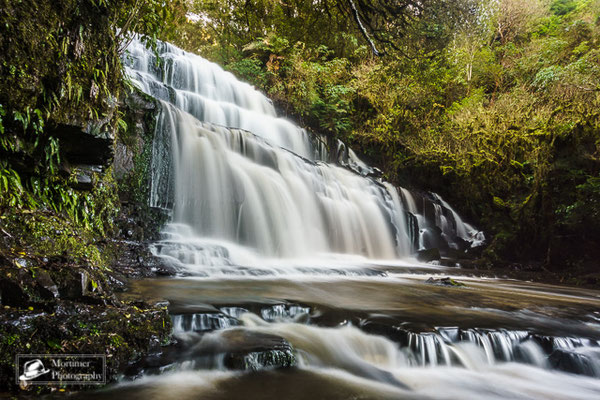 beautiful waterfall at purakaunui