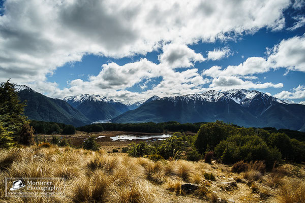 stunning mountain scenery at the arthurs pass at bealey