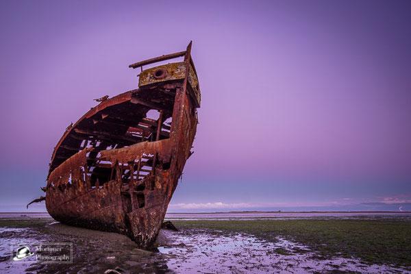 Altes verrostetes Schiffswrack in der blauen Stunde in Motueka