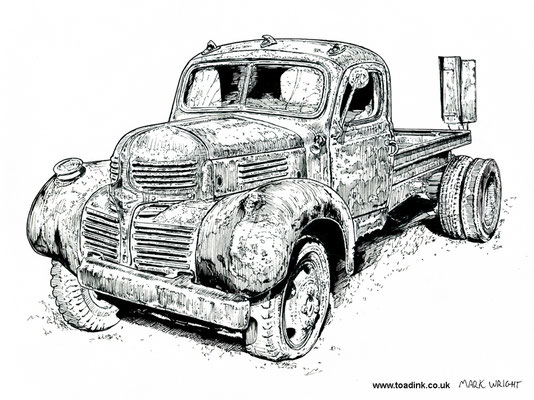 Beat up old Dodge (2016) Ink pen. All rights reserved.