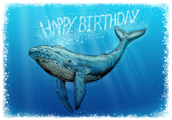 Birthday Whale (for card). All rights reserved.