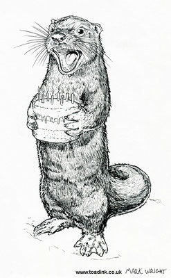 Birthday Otter (2016) Ink pen. All rights reserved