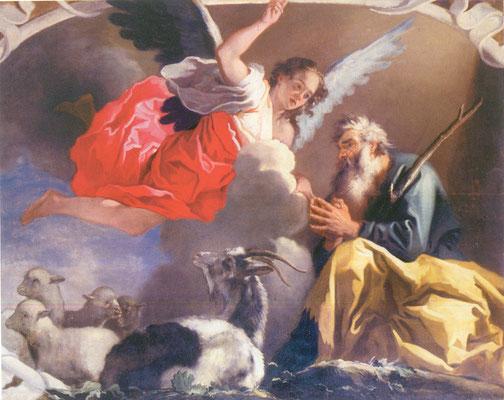 Simone Brentana - L'angelo appare a Gioacchino - olio su tela - cm 193 x 245 - secolo XVII