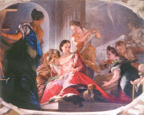 Simone Brentana - Natività di Maria - olio su tela - cm 191 x 252 - secolo XVII