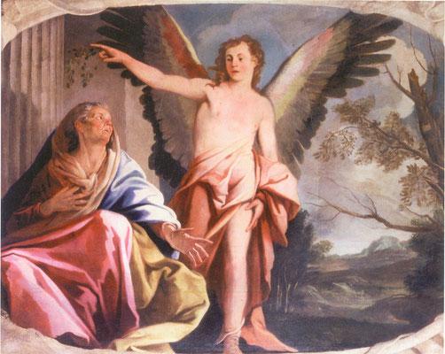 Simone Brentana - L'angelo appare ad Anna - olio su tela - cm 188 x 248 - secolo XVII