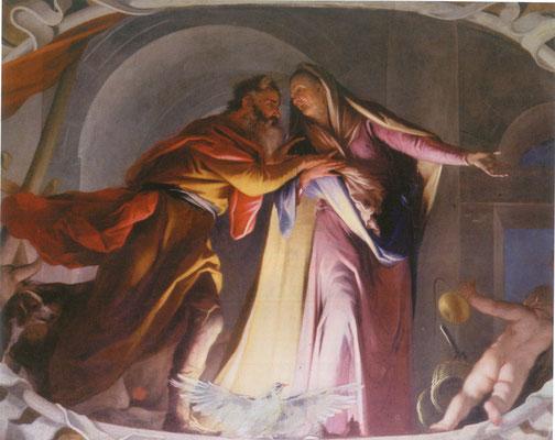 Simone Brentana - Incontro di Anna e Gioacchino - olio su tela - cm 196 x 248 - secolo XVII