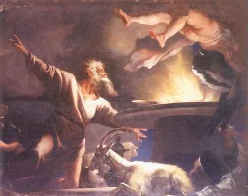 Simone Brentana - Sacrificio di Gioacchino - olio su tela - cm 196 x 249 - secolo XVII