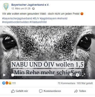 Der zweite Facebook-Post des BJVs