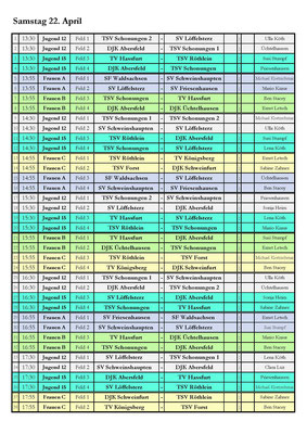 Vorbereitsungsturnier Korbball - Spielplan Tag 1