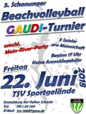 Beachvolleyball GAUDI-Turnier 2018 - Flyer