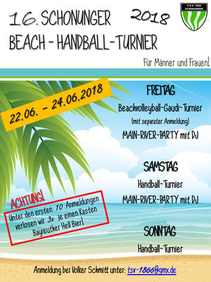Beach-Handball-Turnier 2018 - Flyer
