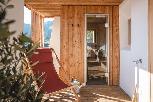 Loggia mit privater Sauna