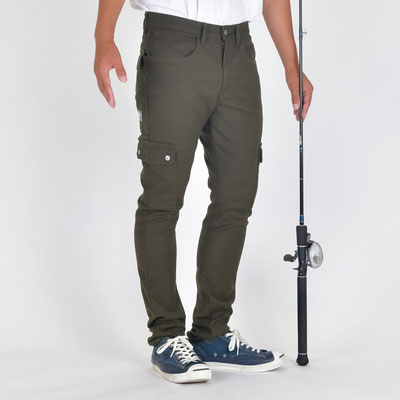 """""""The Colorful Break Line"""" SLIM STRETCH FISHING CARGO PANTS BW-403VMC OLIVE"""