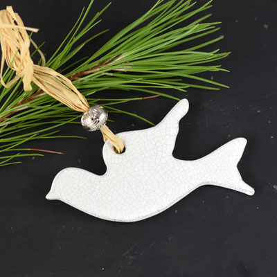 décoration noel colombe en terre cuite