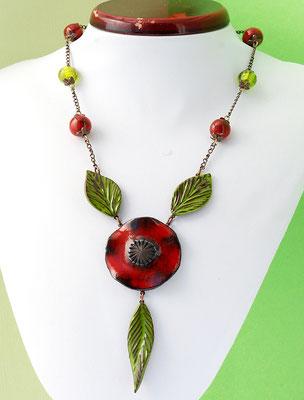 collier ceramique original coquelicot lilibulle