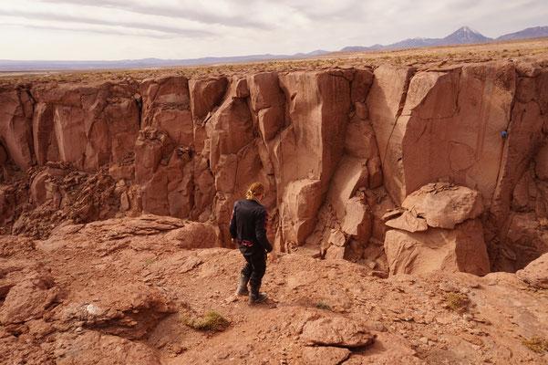 Quebrada mit Kletterern /Chile