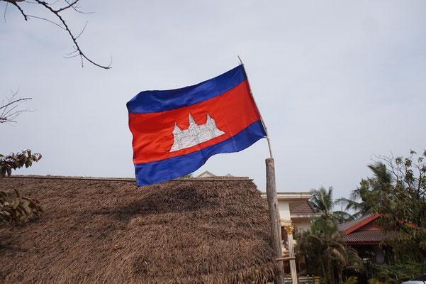 Allgegenwärtig: Die kambodschanische Fahne