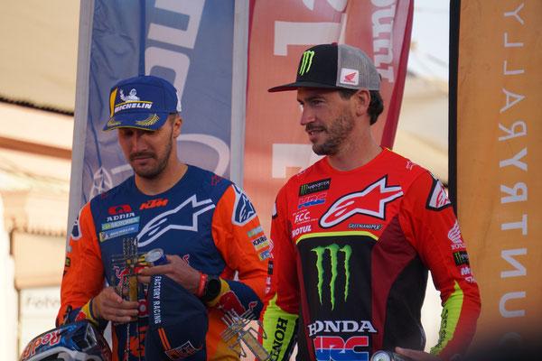 Barreda und Sunderland bei der Siegerehrung / Atacama Rally Chile