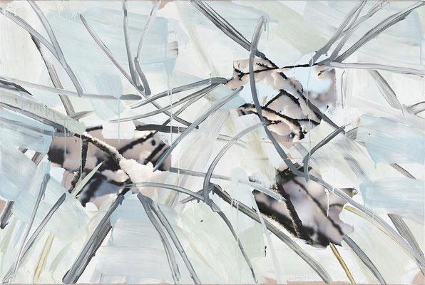 Monika Humm, Winter 5, Malerei in Mischtechnik, 2019, 100x150x2 cm