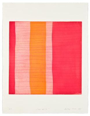 Monika Humm Aran - Red 1, 2005, Aquatinta und Strichätzung, 3 Platten, PG 50x50cm auf Bütten 76x57cm
