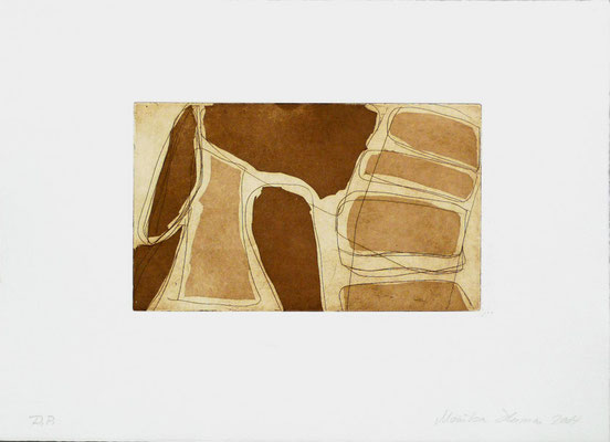 Monika Humm Aquatinta 1-brown 4, PG 13,5x2cm, Bütten 28,5x39cm