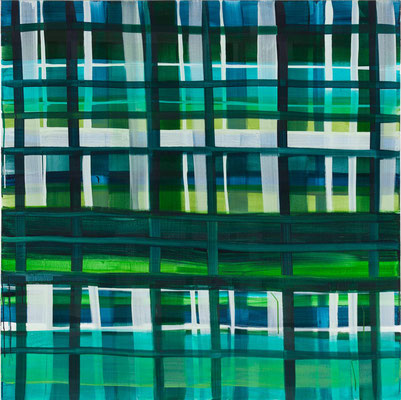 Monika Humm constructed 8, 2016, Acrylmalerei auf Leinwand, 140x140x7cm