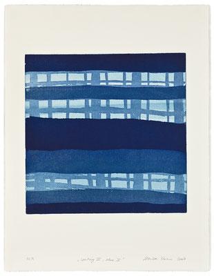 Monika Humm Waiting III - blue 2 , 2007, Aquatinta, 3 Platten, PG 40x40cm auf Bütten 66x50cm