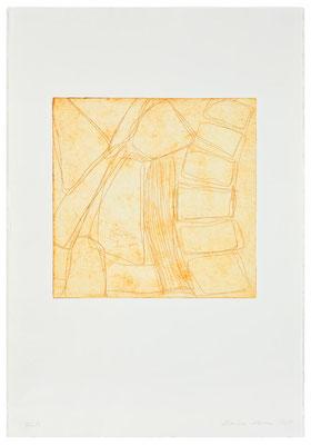 Monika Humm Kaltnadelradierung - yellow-ochre 2, PG 27x27 cm, Bütten 57x39cm
