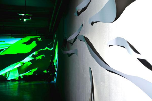 Monika Humm seaweed 1 und 3, Rauminstallation, ARKATRON, Kunstarkaden, München 2010
