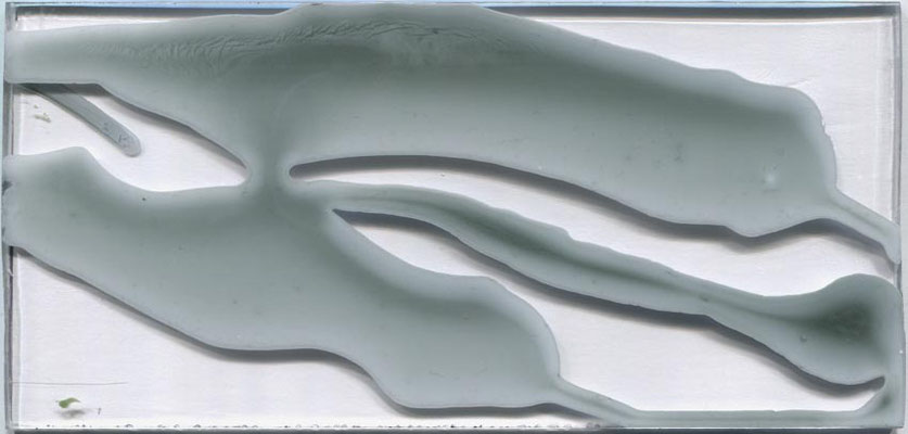 Monika Humm  Volcanism-Floating 9, 2017, Acrylmalerei auf Acrylglas, 9,5x20x2cm