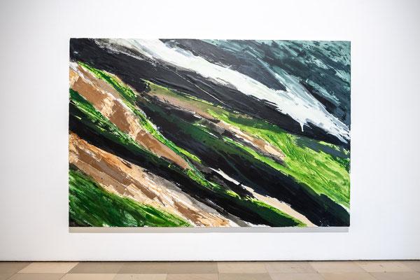 Monika Humm: Volcanism 31, MT auf LW/Holz, 200 x 300 x 7 cm / Supernature, Galerie der Künstler München, 2021 Foto: Edward Beierle