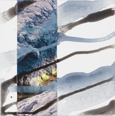 Monika Humm  Volcanism - Collage 9, 2018, Mischtechnik auf Holz, 20x20x2cm