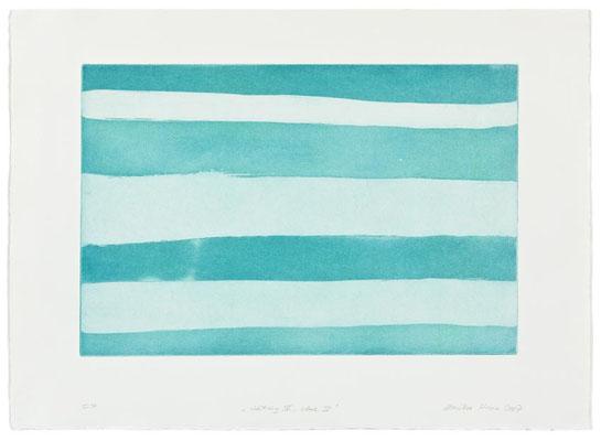 Monika Humm Waiting 4- blue 4, 2007, Aquatinta, PG 40x60cm, Buetten 57x78cm