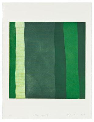 Monika Humm Aran - Green 5, 2005, Aquatinta und Strichätzung, 4 Platten, PG 50x50cm auf Bütten 76x57cm