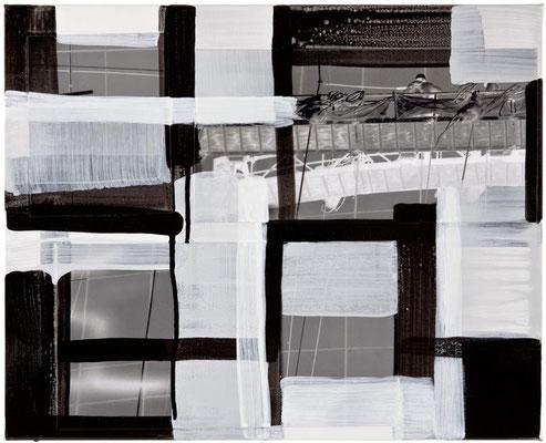 Monika Humm Global - Men at Work 28, 2015 Mischtechnik auf Holz, 40x50x2cm