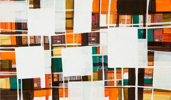 Monika Humm, global 58, 2013, Mischtechnik auf Leinwand, 170x100x2cm