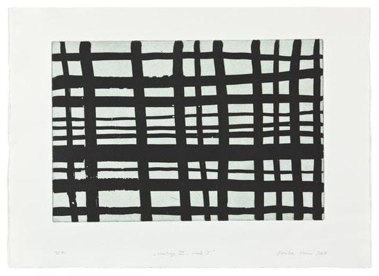 Monika Humm Waiting 4- black 1, 2007, Aquatinta, PG 40x60cm, Buetten 57x78cm
