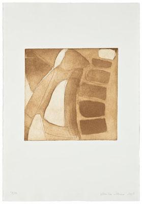 Monika Humm Aquatinta 3 - brown 1, PG 26,5x27 cm, Bütten 57x39cm