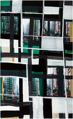 Monika Humm Global- Hongkong 56, 2012 Mischtechnik auf MDF, 186x113x3cm