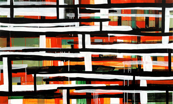 Monika Humm Global 17, 2009, Mischtechnik auf MDF, 113x186x3cm