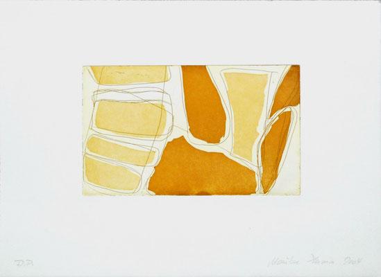 Monika Humm Aquatinta 1-yellow-ochre 2, PG 13,5x2cm, Bütten 28,5x39cm
