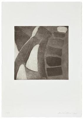 Monika Humm Aquatinta 3 - black 3, PG 26,5x27 cm, Bütten 57x39cm