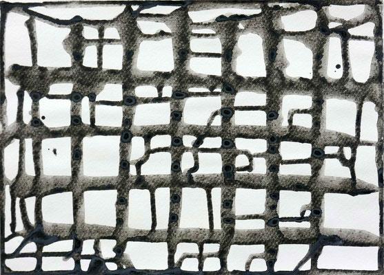 Monika Humm, Connected 7.7, 2016, Acryl auf Papier, 25 x 35 cm