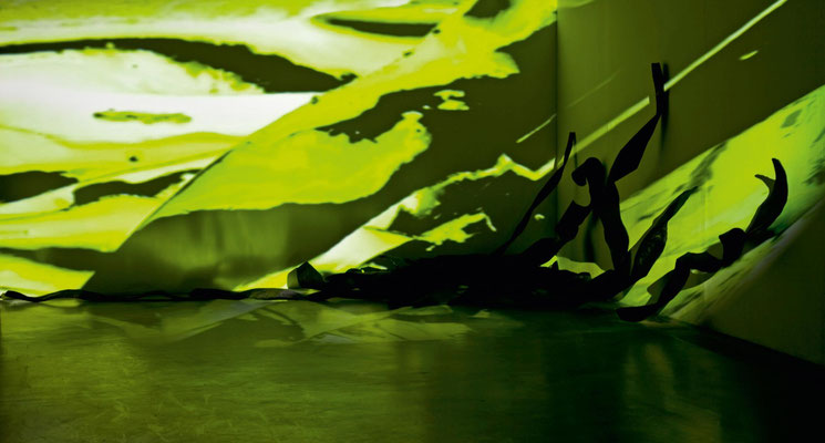Monika Humm seaweed , Videostill, Rauminstallation, ARKATRON, Kunstarkaden, München 2010